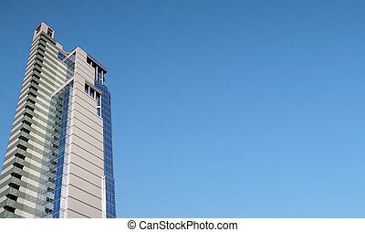 costruzione ufficio, e, panorama, di, cielo