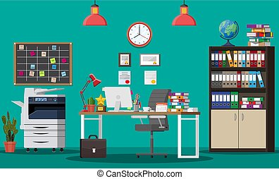 costruzione, ufficio, interior.