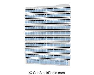costruzione, ufficio, -, isolato, interpretazione, bianco, 3d