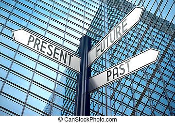costruzione, ufficio, segno, -, incrocio, passato, futuro, presente