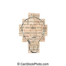 costruzione, uno, nuovo, creativo, idea., muro di mattoni, con, disegnato, lightbulb