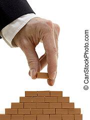 costruzione, uomo affari, mattoni, parete