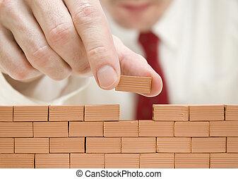 costruzione, uomo affari, parete