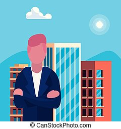 costruzione, uomo affari, urbano