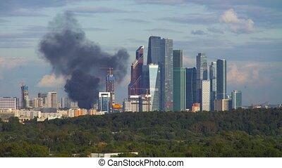 costruzione, urente, residenziale, sopra, fumo nero