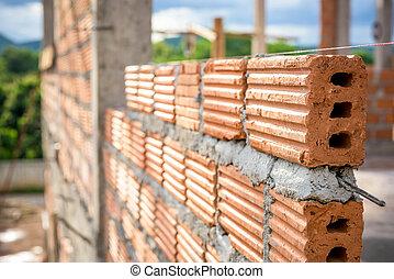 costruzione, usato, costruire, mattone