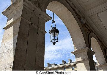 costruzione, vecchio, architettonico, tradizionale, paris., localizzato, lampada, strada, storico, arco