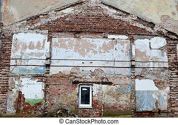 costruzione, vecchio, parete, house., rovinato, impronta, traccia, segno, scia, demolito, un altro, mattone, wall.