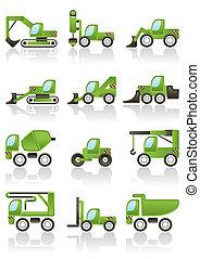 costruzione, veicoli, set, icone