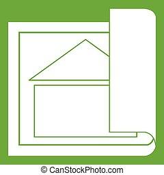 costruzione, verde, piano, icona