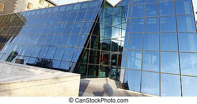 costruzione, vetro, moderno