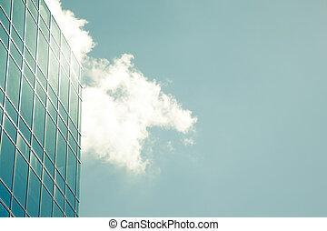 costruzione, vetro, moderno, corporativo