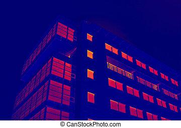 costruzione, vetroso, ufficio, simulazione, termico, imaging
