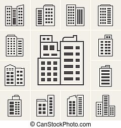 costruzione, vettore, illustrazione, icone