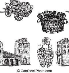 costruzione, vettore, image., seamless, carrello, viticulture, fondo, grapes., barile, agricoltura