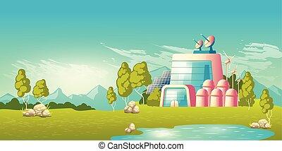 costruzione, vettore, potere, ecologico, stazione, cartone animato