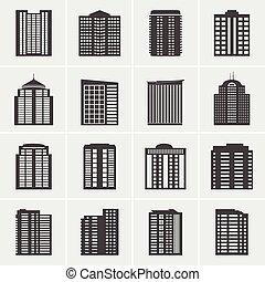 costruzione, vettore, set, icone