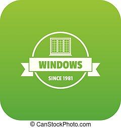 costruzione, vettore, verde, decotrative, icona
