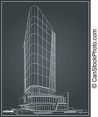 costruzione, wireframe, 3d