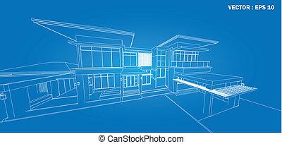 costruzione, wireframe, render, 3d