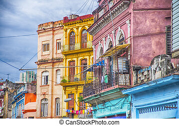 costruzioni, avana, balconi, colorito, cuba