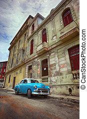 costruzioni, avana, vecchio, colorito, automobile, scena, centro, strada american