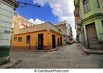 costruzioni, avana, vecchio, strada, colorito