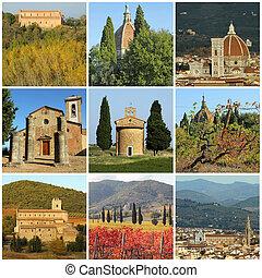 costruzioni, collage, fantastico, toscano, religioso, paesaggio
