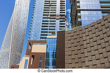 costruzioni, moderno, city., grattacieli