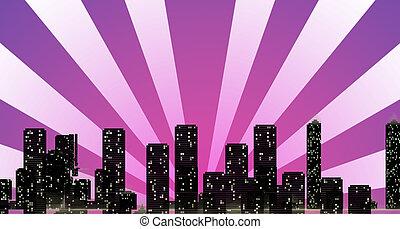 costruzioni, raggi, sole, orizzonte, oscurando, cityscape