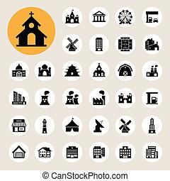 costruzioni, set, icona