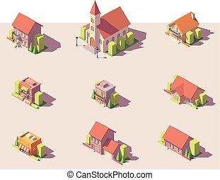 costruzioni, set, isometrico, poly, vettore, basso