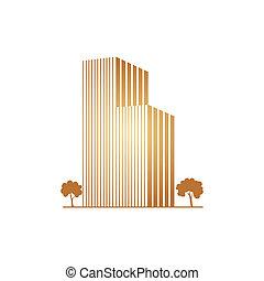 costruzioni, sopra, bianco, albero