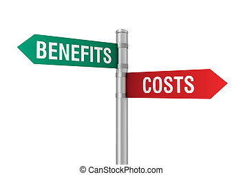 costs benefits road sign