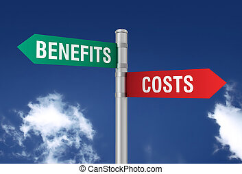 costs benefits road sign 3d illustration
