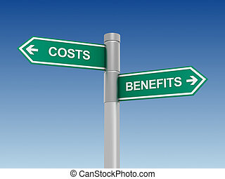 costs benefits sign concept  3d illustration