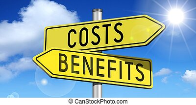 Costs, benefits - yellow road-sign