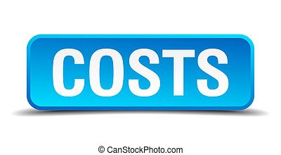 costs blue 3d realistic square isolated button