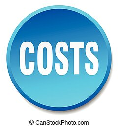 costs blue round flat isolated push button