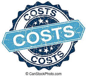 costs blue round grunge stamp on white