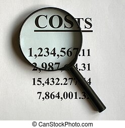 Symbolic representation of costs examination, useable for presentations.