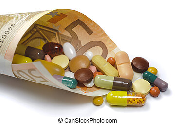 costs for medicin - medical pills in rolled 50 euro bank...
