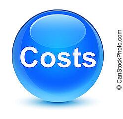 Costs glassy cyan blue round button