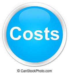 Costs premium cyan blue round button