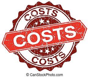 costs red round grunge stamp on white