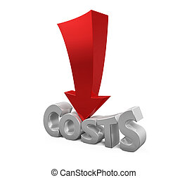 Costs reduction concept isolated on white background. 3d ...