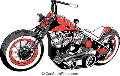costumbre, bobber, motocicleta
