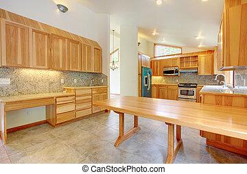 costumbre, grande, abedul, interior, cocina casera