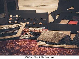 costumbre, trajes, tela, muestras, hecho