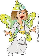 costume., 女の子, ベクトル, 妖精